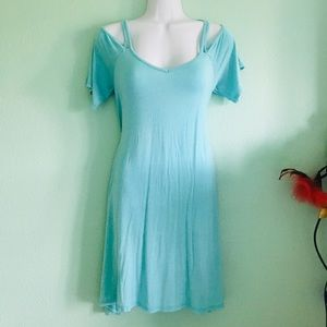 Ally Rose Flowy Cold Shoulder Light Blue Dress